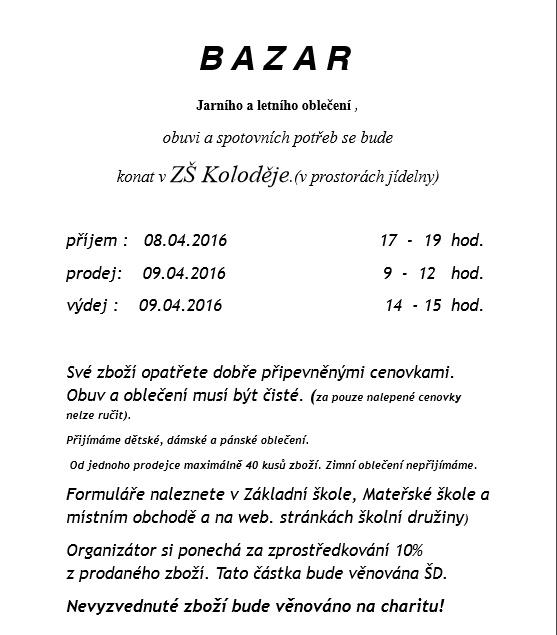 db8053482ea Pozvání na Bazar oblečení a sportovních potřeb v Kolodějích ...